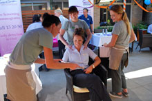 Staff enjoy complimentary massages at the Wellness Day